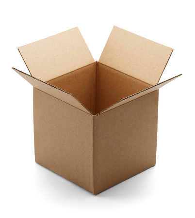 Empty brown cardboard box open and isloated on a white background.