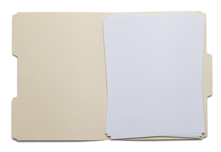 File Folder with Blank White Paper Isolated on White Background. Foto de archivo