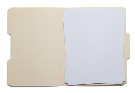 papier a lettre: Dossier de fichiers avec papier blanc isol� sur fond blanc.