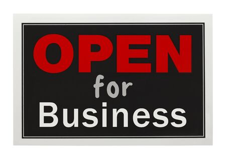Red and Black Open For Business Sign Isolated on White Background.