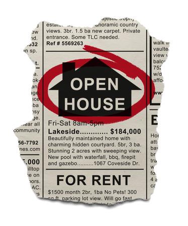 bienes raices: Inmobiliaria Casa Abierta Ad rode� con marcador rojo aislado sobre fondo blanco.