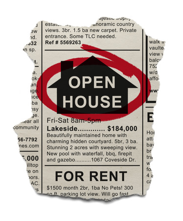 real estate sign: Real Estate Open House Ad circled with Red Marker Isolated On White Background.