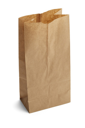 brown paper bag: Brown Paper Bag Opened and Isolated on a White Background. Stock Photo