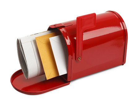 junk mail: Red Mail Box with Lettes and Newspaper Isolated on White Background.