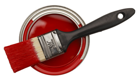 Red Paint Can with Brush Top View Isolated On White Background.