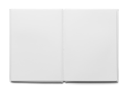 medium shot: Open White Hard Cover Book Isolated on White Background.