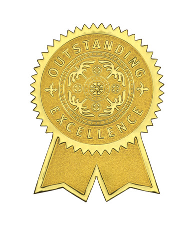 Gold Excellence Seal With Ribbons Isolated on White Background.