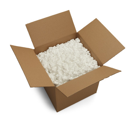 packing material: Open Cardboard Box with Packing Peanuts Isolated on White Background.