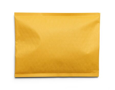 postes: Yellow Blank Envelope Isolated on White Background.