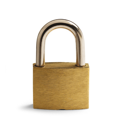 Brass Paddlock Closed with Copyspace Isolated on White Background.