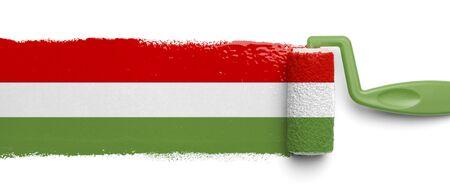 bandera de mexico: Rodillo de pintura con los colores de la bandera mexicana aislados en fondo blanco. Foto de archivo