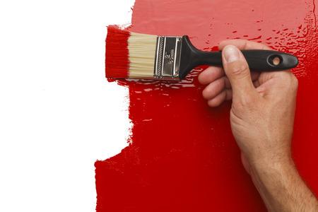 Mano Pintura roja de la pared con el espacio blanco de la copia. Foto de archivo - 38249175