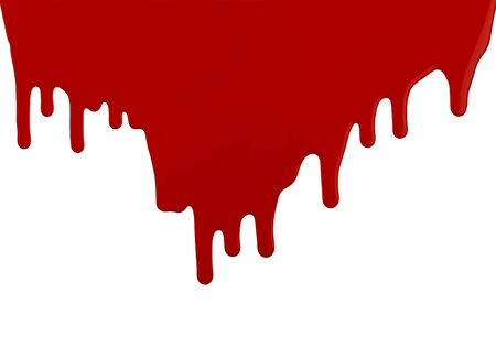 run down: Red Latex Paint Running Down Wall with Copy Space on White Background.