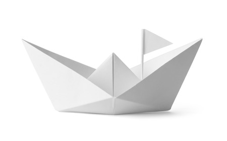 raise the white flag: White Paper Boat With Flag Isoalted on White Background.
