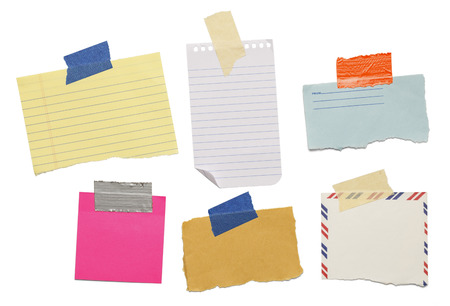 old envelope: six different scraps of paper notes isolated on white background.