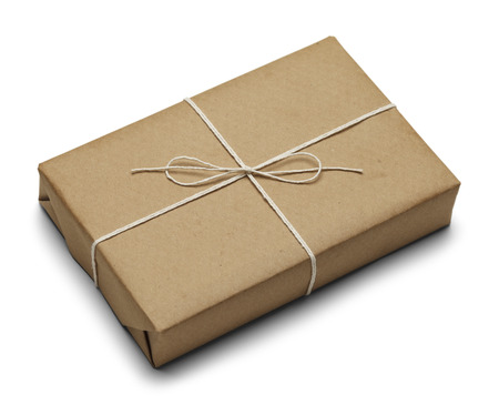 Tied Brown Paper Package With Rope Isolated on White Background. photo