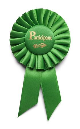 participant: Green Particitpation Ribbon Isolated on White Background. Stock Photo