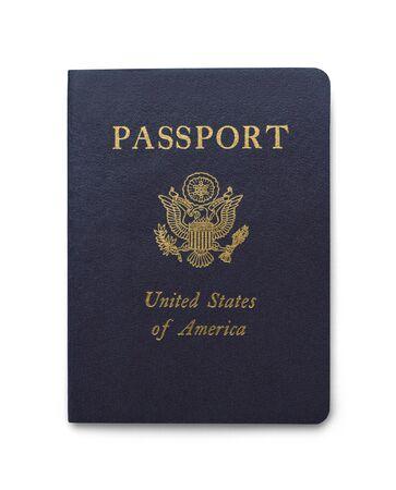 passeport: Bleu passeport américain isolé sur fond blanc.