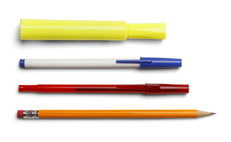 writing  instrument: Marker pens and pencil isolated on white background.