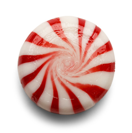 One Piece of Peppermint Candy Isolated on White Background.