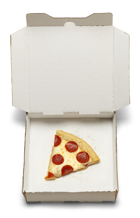 leftover: Single Leftover Pizza In Take Home Box Isolated on White Background.