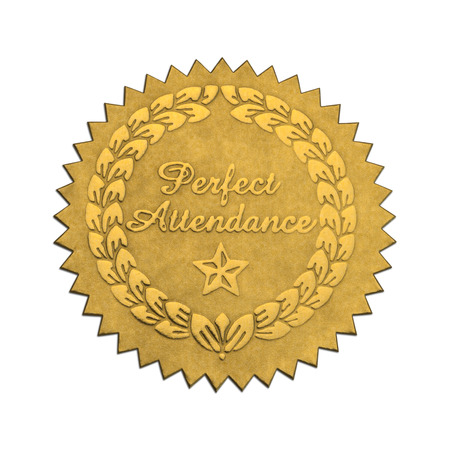 attendance: Gold Star Foil Seal Perfect Attendance Isolated on White Background. Stock Photo