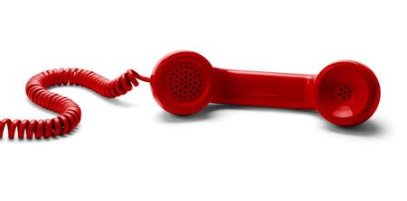 telefono antico: Red telefono staccato isoalted su sfondo bianco. Archivio Fotografico