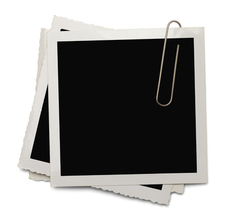 instant film transfer: Old Photo with Copy Space and Paper Clip Isolated on White Background. Stock Photo