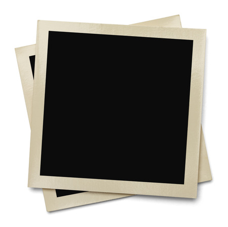 instant film transfer: Two Old Blank Photos Stacked and Isolated on a White Background. Stock Photo