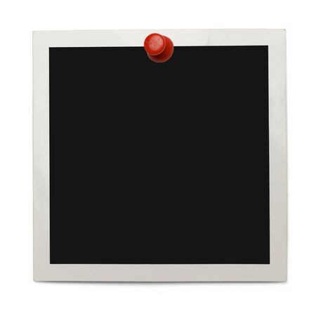 instant film transfer: Old Photo with Copy Space and Red Thumb Tack Isolated on White Background. Stock Photo