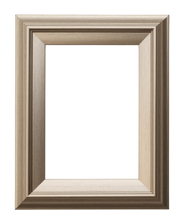 wood cut: Rectangular Picture Frame Isolated on White Background. Stock Photo