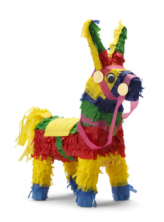 Mexican Donkey Pinata Isolated on White Background. Stock Photo