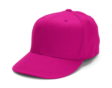 Pink Baseball Hat With Copy Space Isolated on White Background.