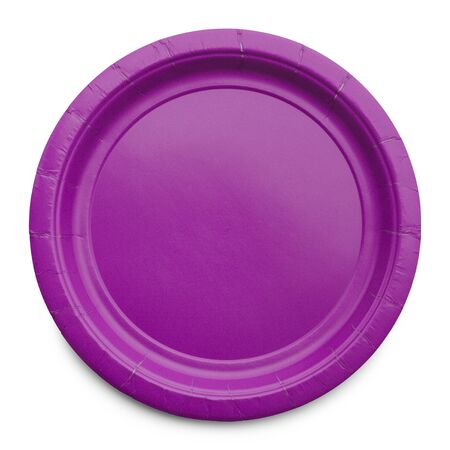 paper plates: Empty Plate Top View Isolated on White Background.