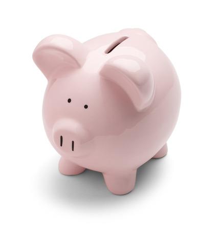 cuenta bancaria: Banco de cerdo cl�sico, aislado en un fondo blanco. Foto de archivo