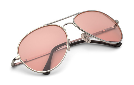 Classic Sun Glasses With Pink Lenses Isolated on White Background with Clipping Path. Stock Photo