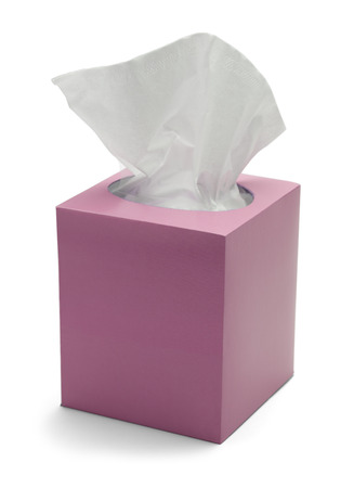 sniffles: Pink Box of Tissues Isolated On White Background. Stock Photo