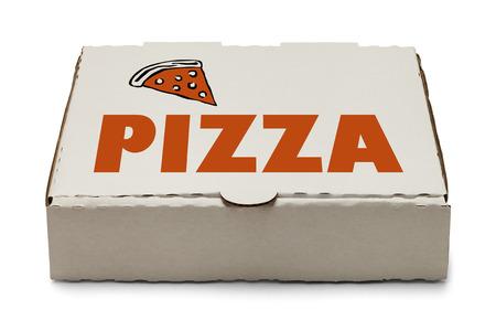 Caja de pizza con el logotipo y la rebanada de pizza aisladas sobre fondo blanco. Foto de archivo