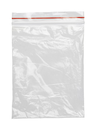 Clear Plastic Bag With Red Seal Isolated on White Background.