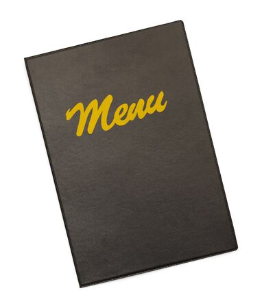 dining out: Black Menu Cover With Gold Menu Isolated on White Background.