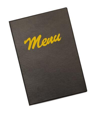 speisekarte: Schwarz Menu Cover mit Gold-Men� auf wei�en Hintergrund. Lizenzfreie Bilder