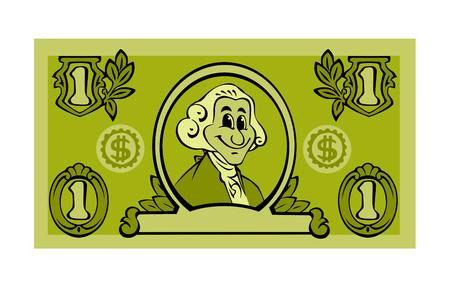 One Dollar Bill Cartoon Graphic Isolated on White Background. Archivio Fotografico