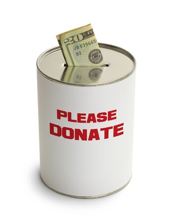 depositing: Please Donate Can with Money Isolated on White Background. Stock Photo