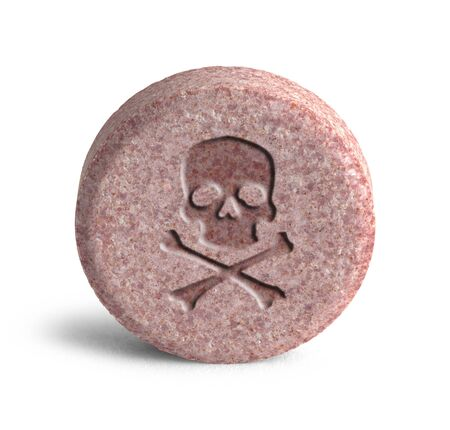 bad habit: Pink Pill with Skull and Cross Bones Isolated on White Background.