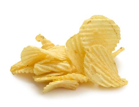 no cholesterol: Pile of Wrinkled Wavy Potato Chips Isolated on White Background. Stock Photo
