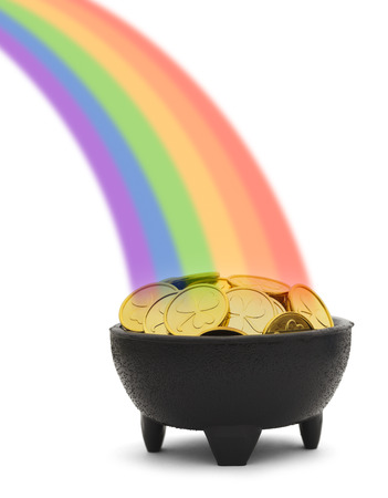 Pot of Gold Coins and Rainbow Isolated on White Background. photo