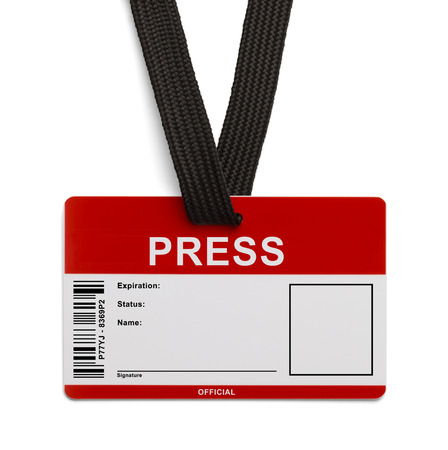 Red and White Press Pass ID Card Isolated on White Background.