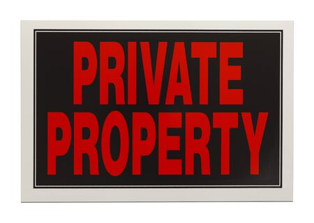 prosecute: Black and Red Plastic Private Property Sign Isolated on White Background.
