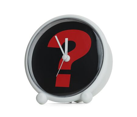 Clock with Question Mark in Red Isolated on White Background. photo