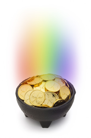 saint patty's: Black Pot of Gold with a Rainbow and Clover Coins Isolated on White Background. Stock Photo